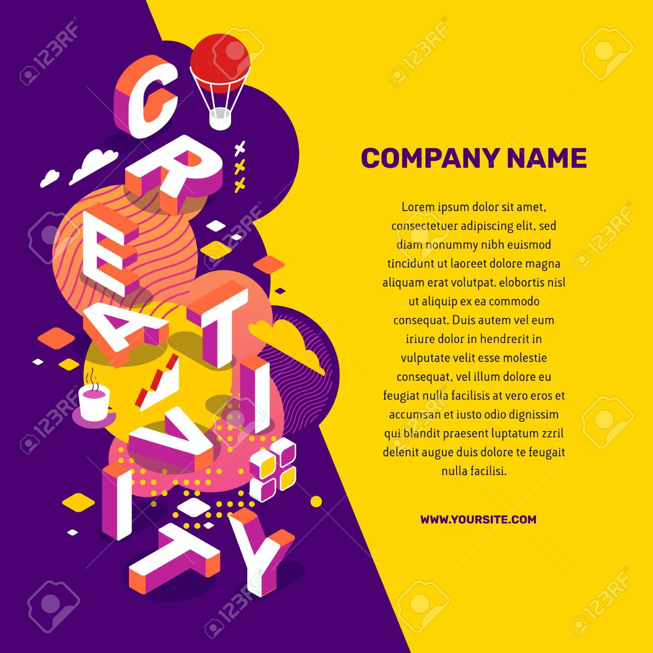 Vector creative illustration of 3d creativity word lettering typography with decor element, text on color background. Creative idea concept. Isometric design for business creative web, site, banner - 101679200