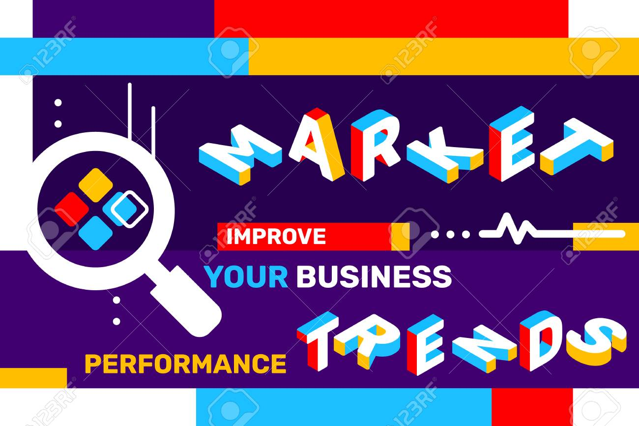 Market trends concept on color background with magnifier icon, geometric element. Vector creative horizontal illustration of 3d word lettering typography. Isometric template design for business web banner - 101648546