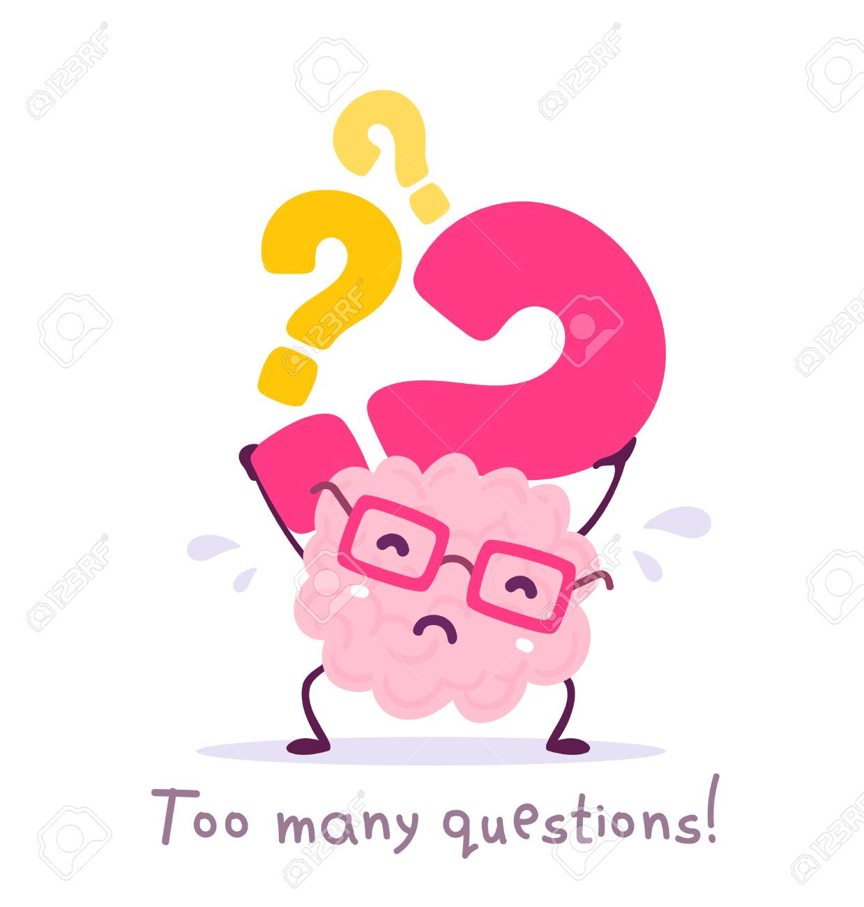 Vector illustration of pink color smile brain with glasses holding question mark on white background. Very strong cartoon brain concept. Doodle style. Flat style design of character brain for education theme - 103861074