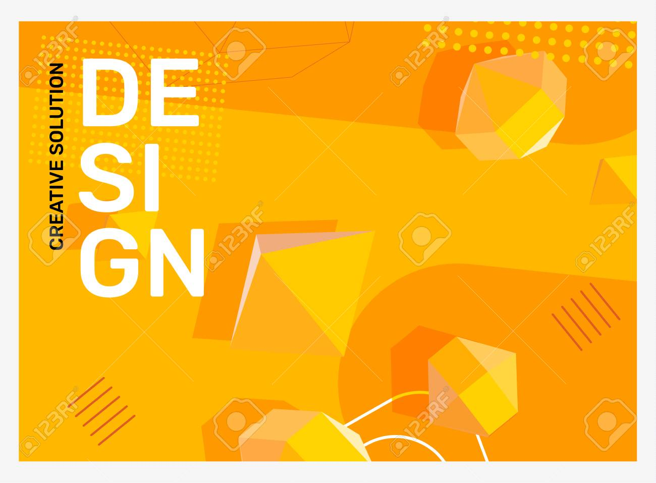 Vector creative bright yellow abstraction illustration in frame. Business abstract background with shape, 3d element, header. Template composition design for web, site, banner, print, poster, presentation - 124714656