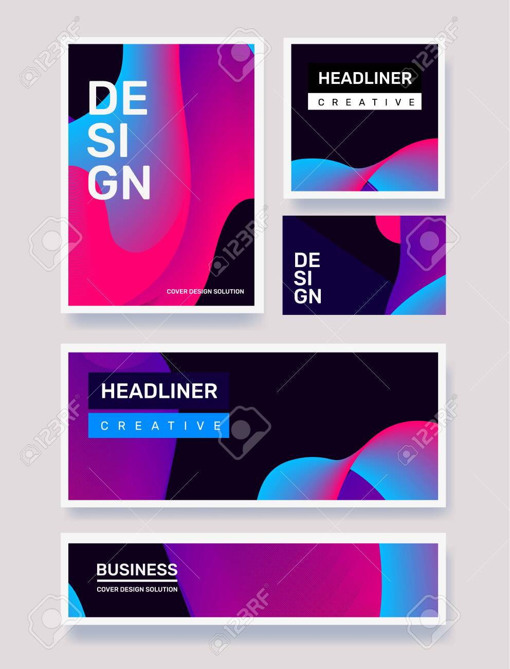 Vector business set of creative blue and pink abstract illustration on black background. Geometric gradient abstraction. Template composition design with dynamic shape, header for web, site, banner, poster, presentation - 124424522