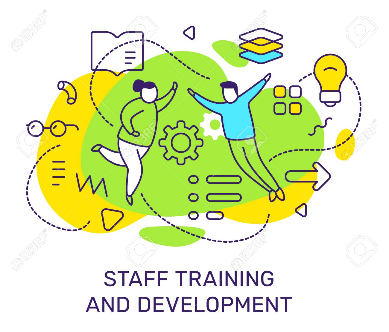Vector business illustration of people with light bulb, book icon on green background. Staff training and development concept with man, woman, text. Line art style design for web, site, poster, banner - 123138689
