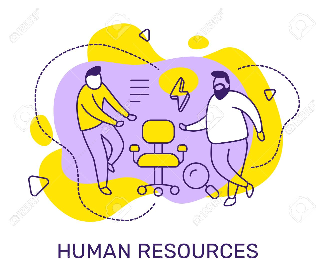 Vector business illustration of people with vacancy chair, magnifier on color background. Human resources concept with man, text. Line art style design for web, site, poster, banner - 123138691