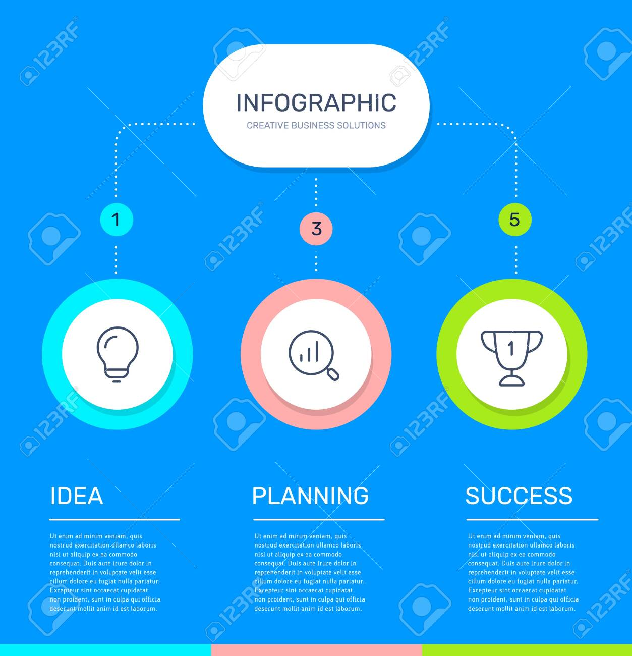 Vector infographic template with 3 circle, business icons, steps and options on blue color background. Line art style design with text and words for web, site, banner, presentation, report - 124045154
