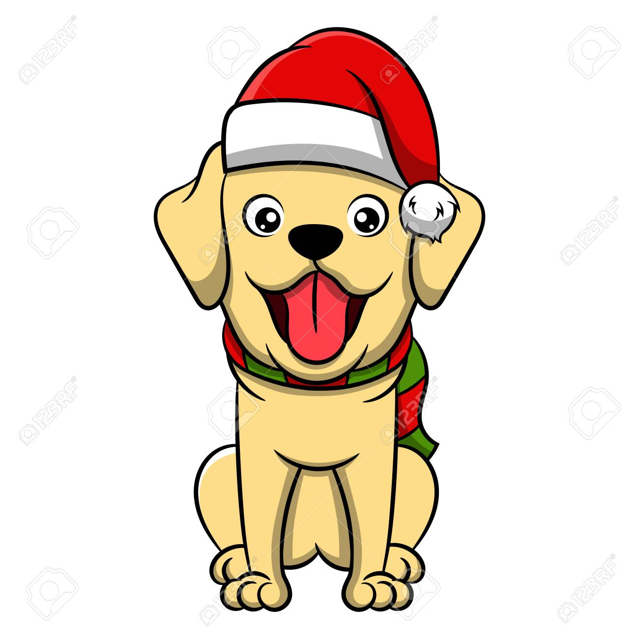 Merry Christmas Golden Retriever Cartoon Dog Vector Illustration Royalty Free Cliparts Vectors And Stock Illustration Image 128057927