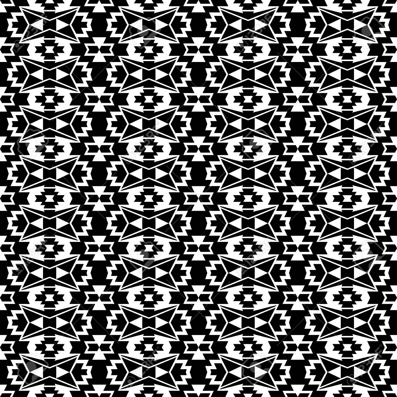 Seamless Boho Style Pattern With Ethnic Aztec Ornament Black