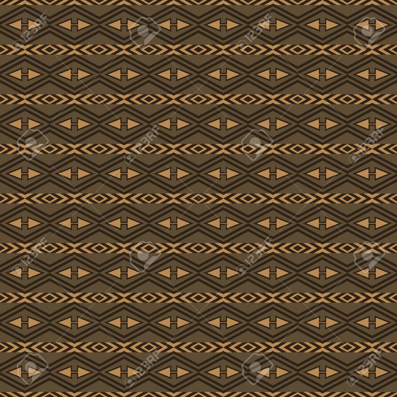 Seamless Pattern With Tribal Aztec Ornament Hipster Wallpaper In Brown Shades Boho Chic Design