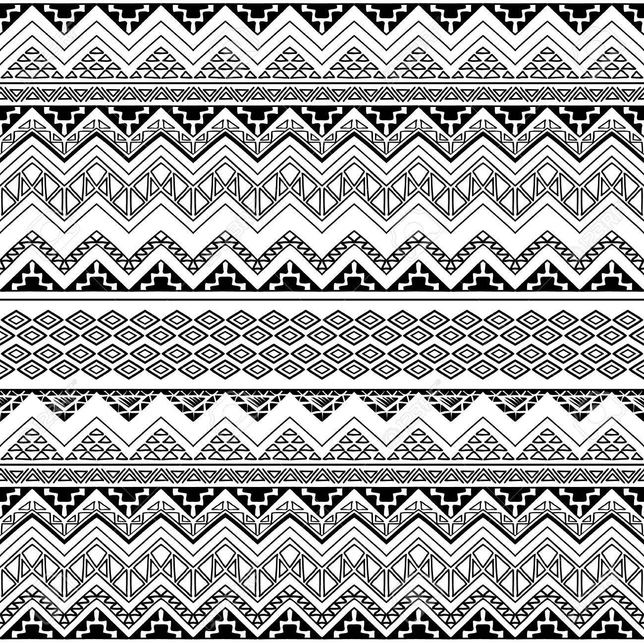 Seamless Boho Chic Style Pattern With Tribal Aztec Ornament Modern Folk Wallpaper Hand Drawn
