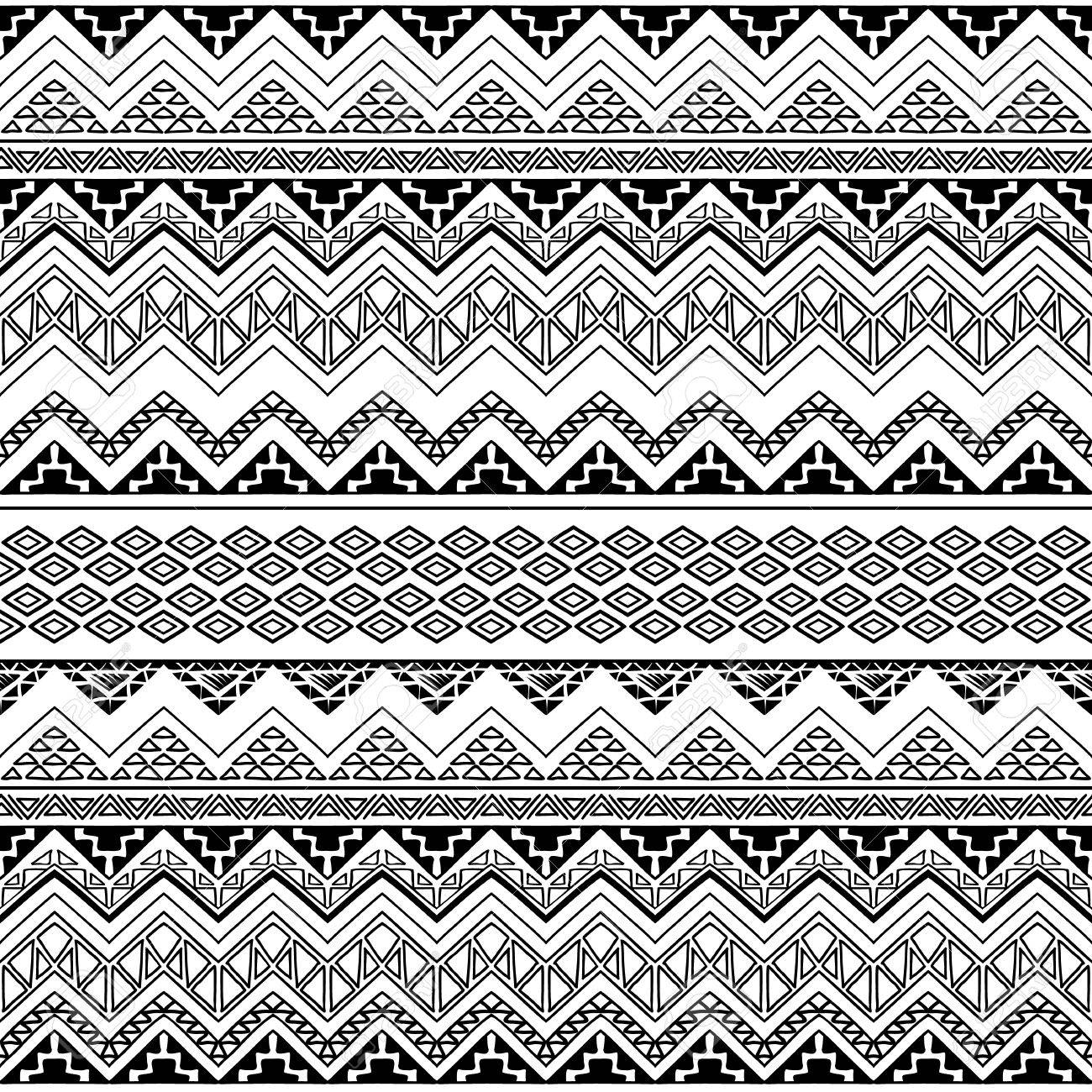 Black And White Seamless Boho Chic Style Pattern With Tribal Aztec Ornament Modern Folk Wallpaper Hand Drawn
