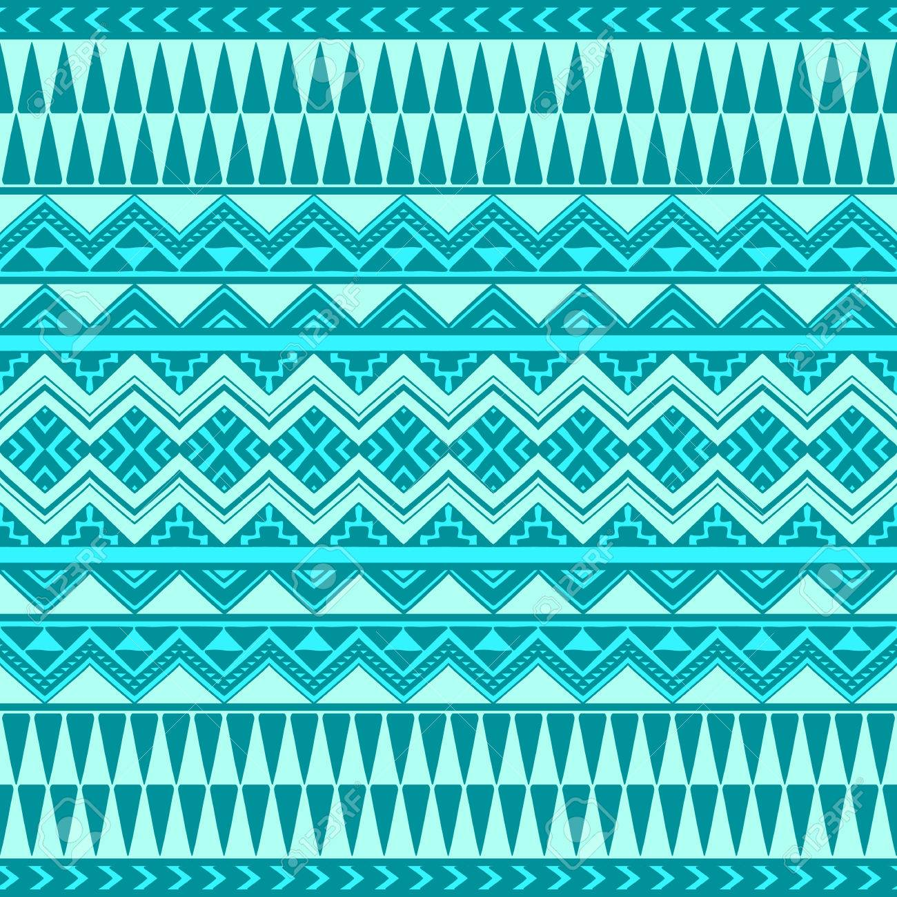 Seamless Boho Chic Pattern With Tribal Aztec Ornament In Blue
