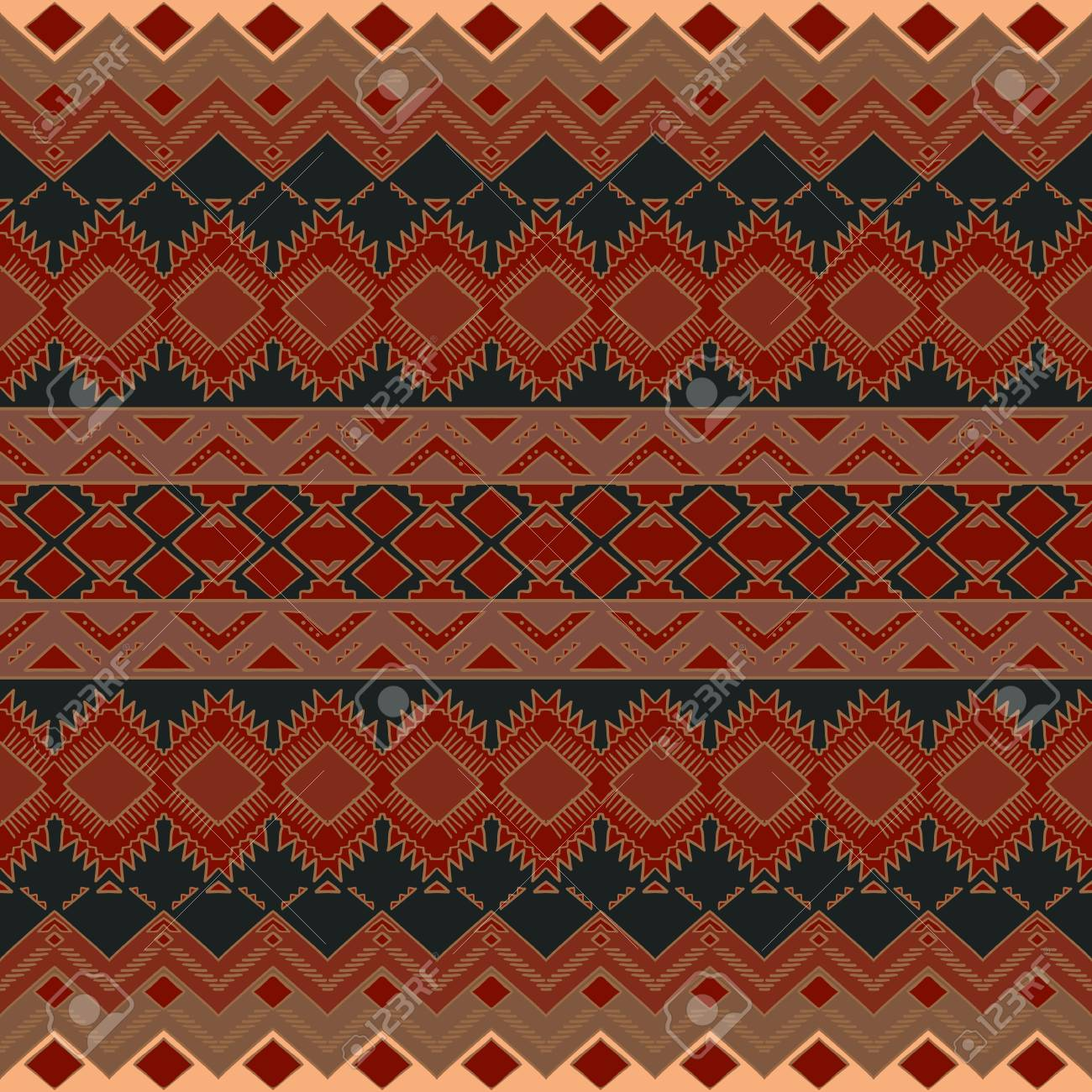Hand Drawn Aztec Seamless Pattern. Aztec Print Template For Fabric ...