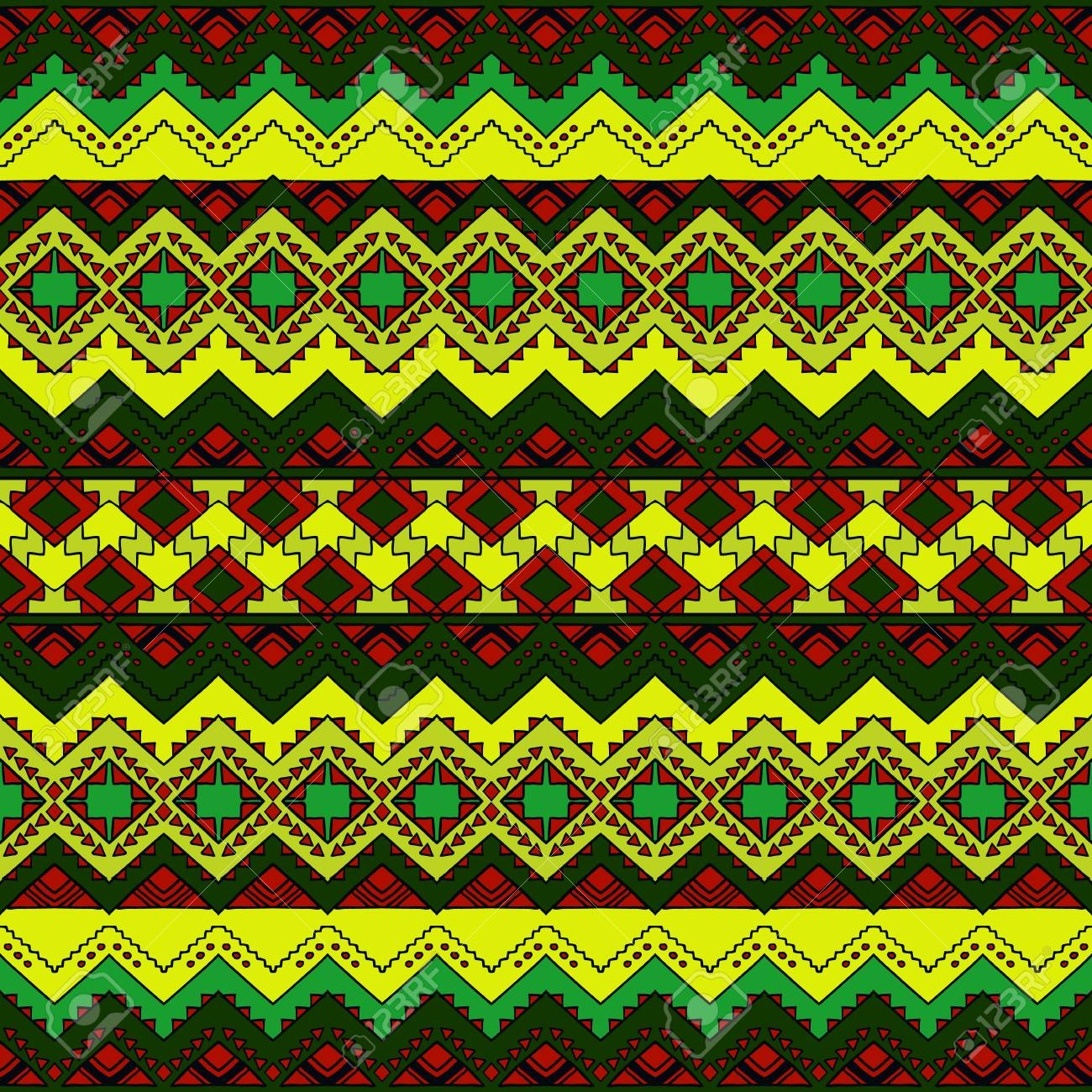 Aztec Seamless Pattern Tribal Print Abstract Background With Ornament Hand Drawn