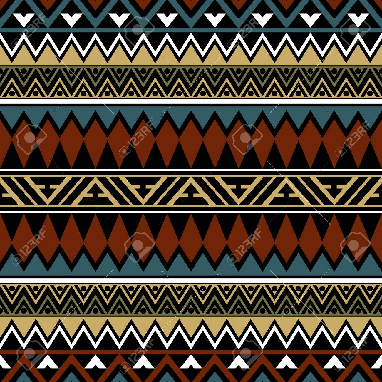 Abstract Seamless Pattern In Boho Chic Style. Aztec Print Template ...