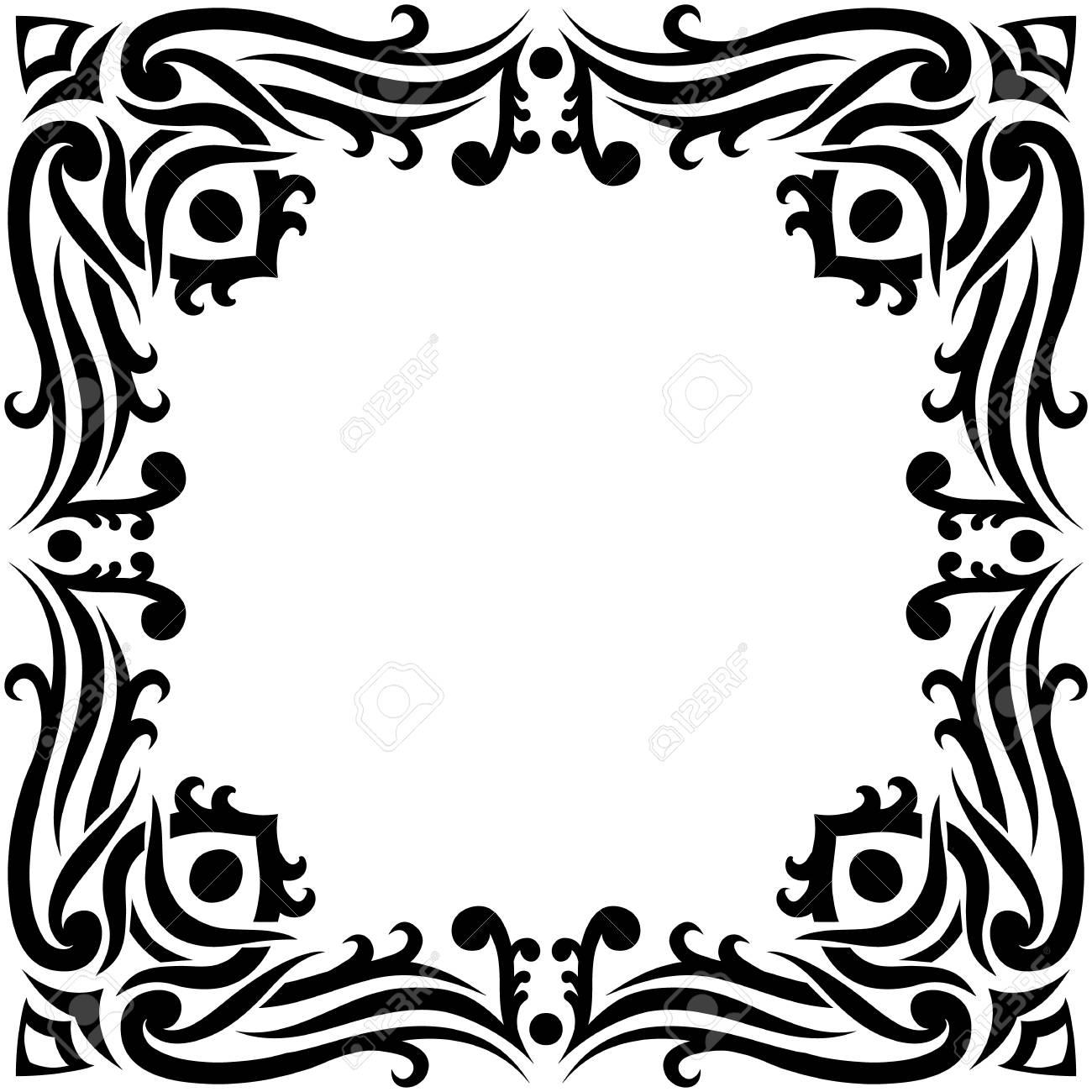 Vector border frame in black color oriental motives vintage vector vector border frame in black color oriental motives vintage filigree can be used for invitation advertisement tattoo design etc stopboris Images
