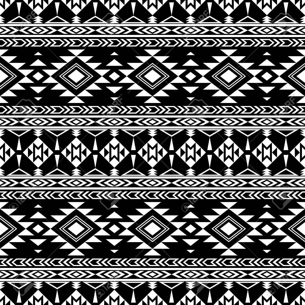 Boho Chic Seamless Pattern With Tribal Aztec Ornament Folklore Stylized Abstract Wallpaper Black Background