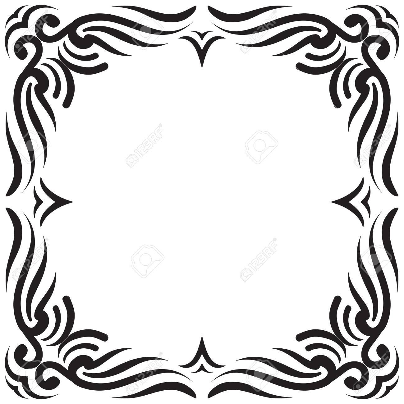Vector border frame in black color oriental motives vintage vector vector border frame in black color oriental motives vintage filigree can be used for invitation advertisement tattoo design etc stopboris Choice Image