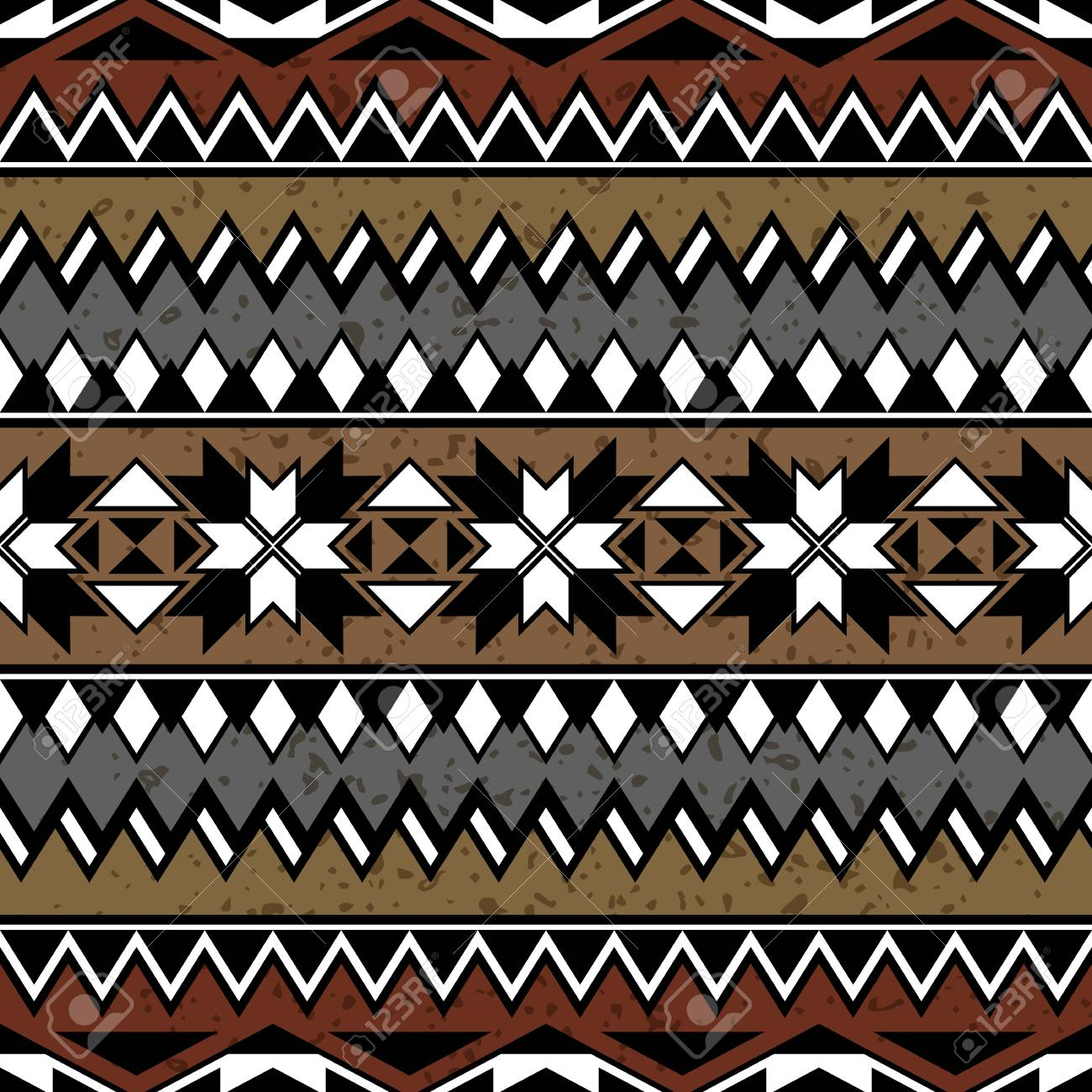 Seamless Pattern With Tribal Aztec Motives Ethnic Stylized Abstract