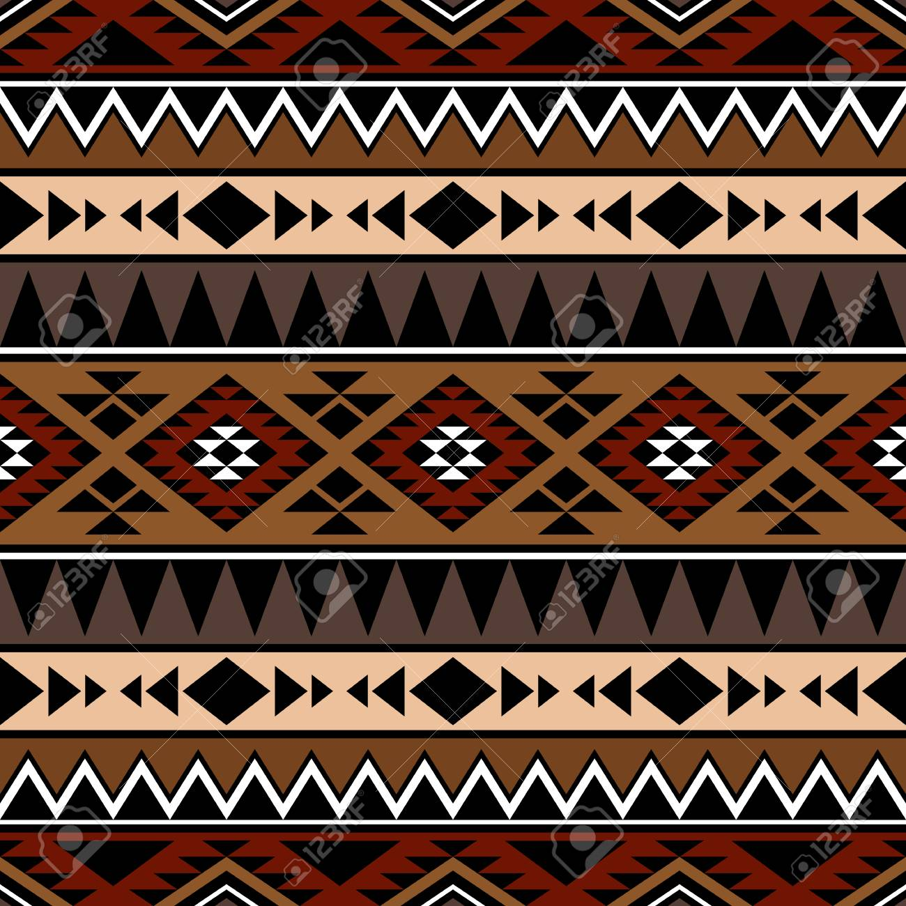 Abstract Seamless Pattern With Tribal Aztec Ornament Boho Chic
