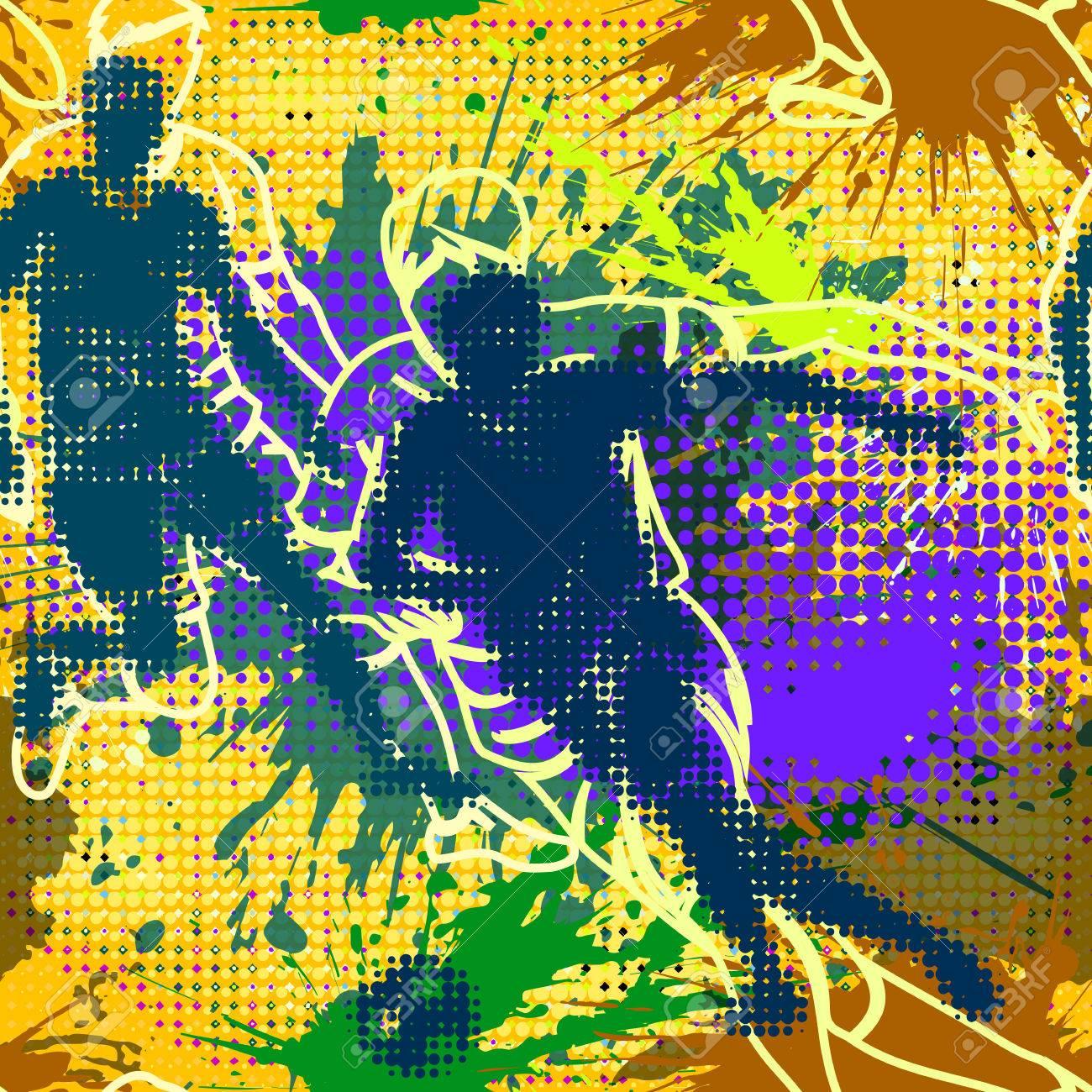 Graffiti Style Seamless Pattern With Grunge Effect Abstract