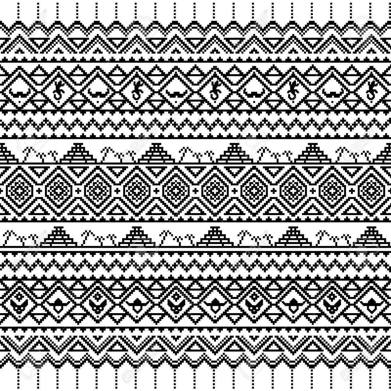 Black And White Seamless Boho Pattern With Tribal Aztec Ornament Abstract Wallpaper Folk Motives
