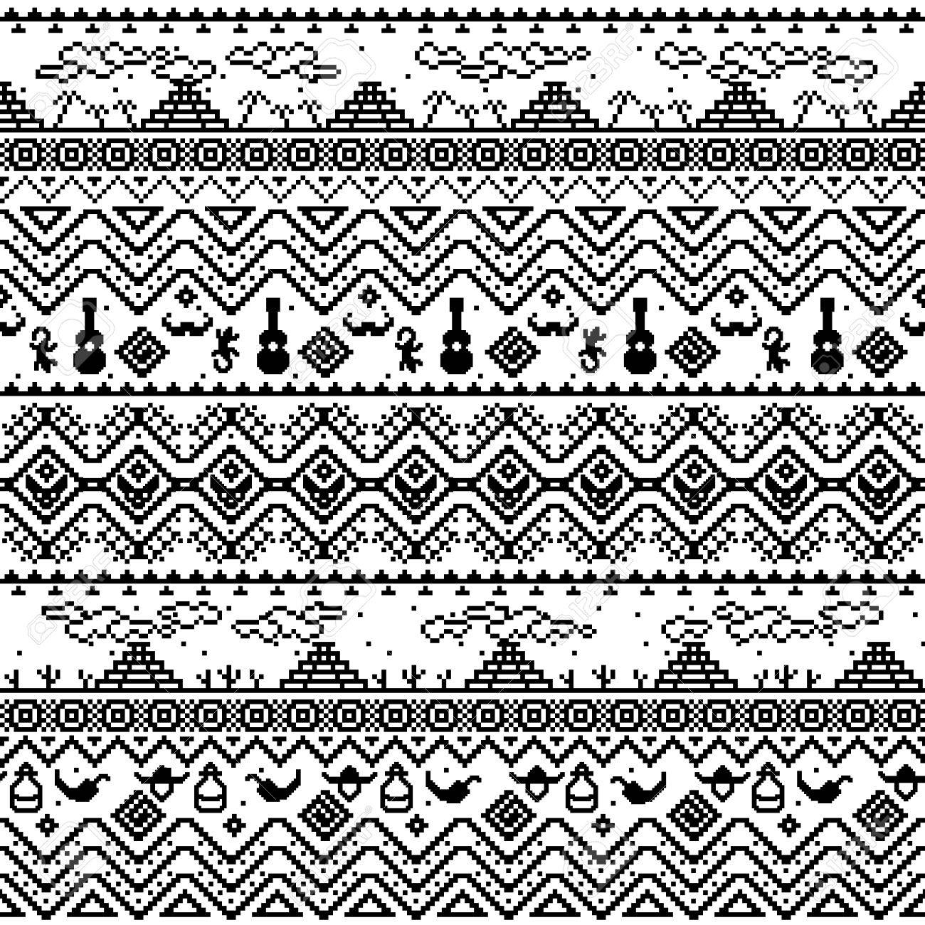 Black And White Seamless Boho Pattern With Tribal Aztec Ornament Abstract Wallpaper Folklore Motives