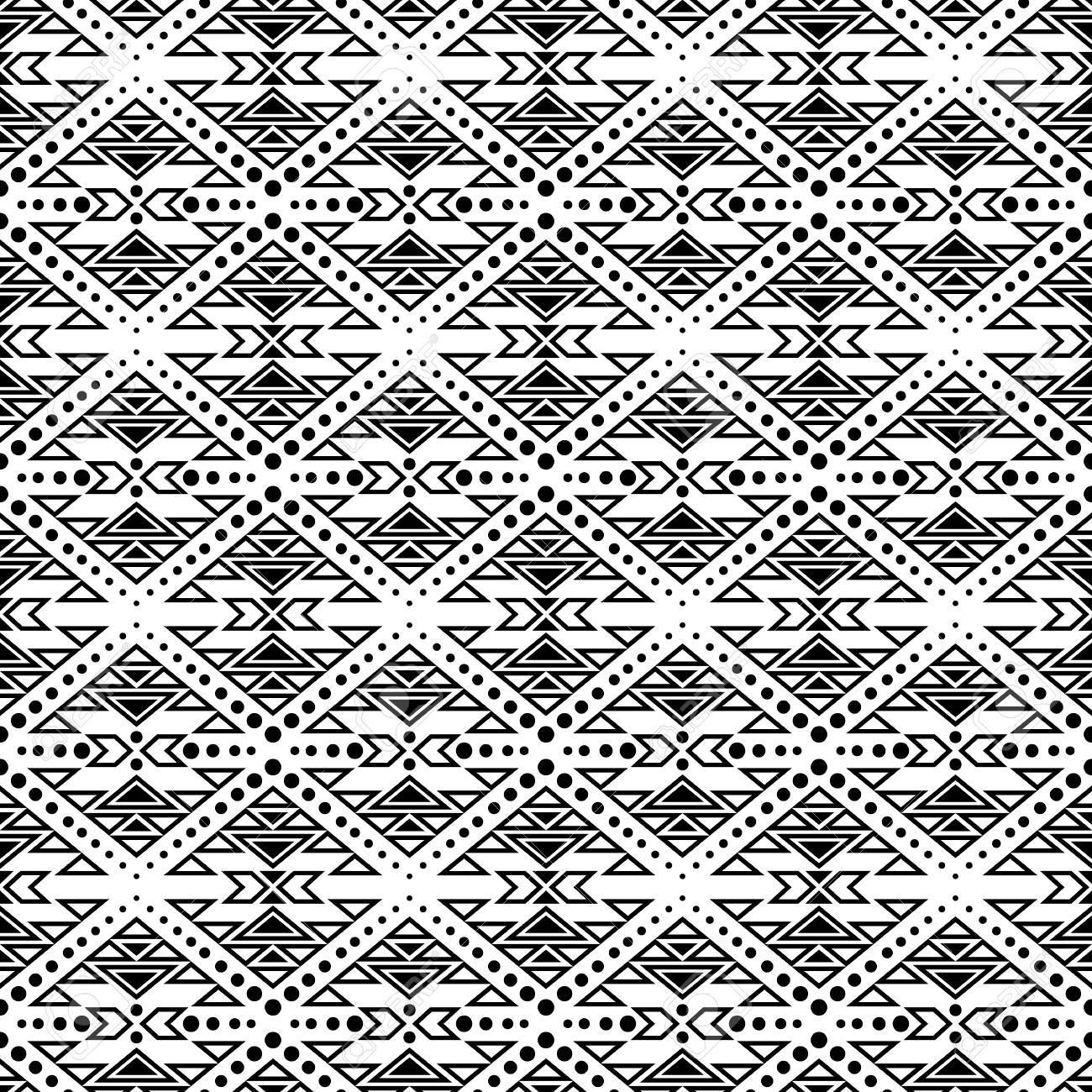 Black And White Seamless Pattern With Tribal Aztec Motives Boho Chic Style Abstract Wallpaper