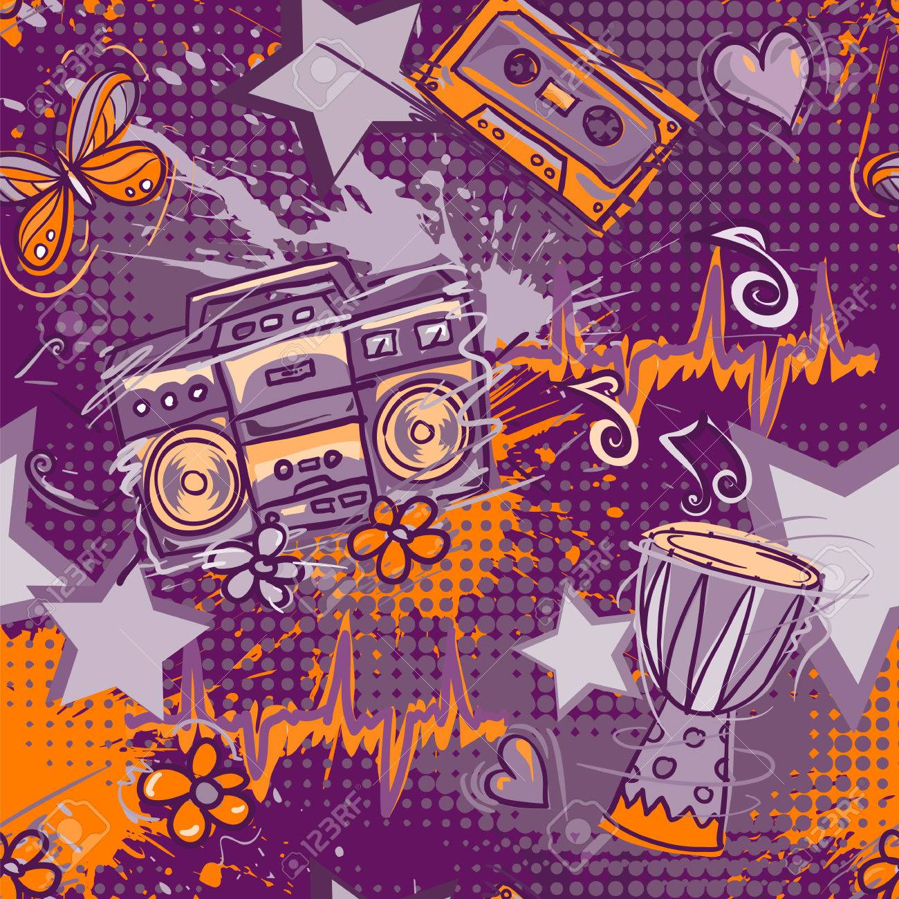 Best Wallpaper Music Tone - 56648687-bright-colored-seamless-pattern-in-hippie-style-abstract-background-with-notes-music-tape-retro-boom  HD_1002025.jpg