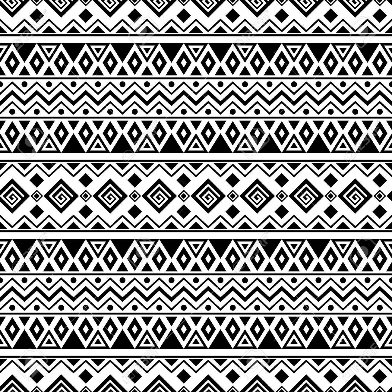 Black And White Aztec Seamless Pattern Boho Design Stylized Print Template For Paper