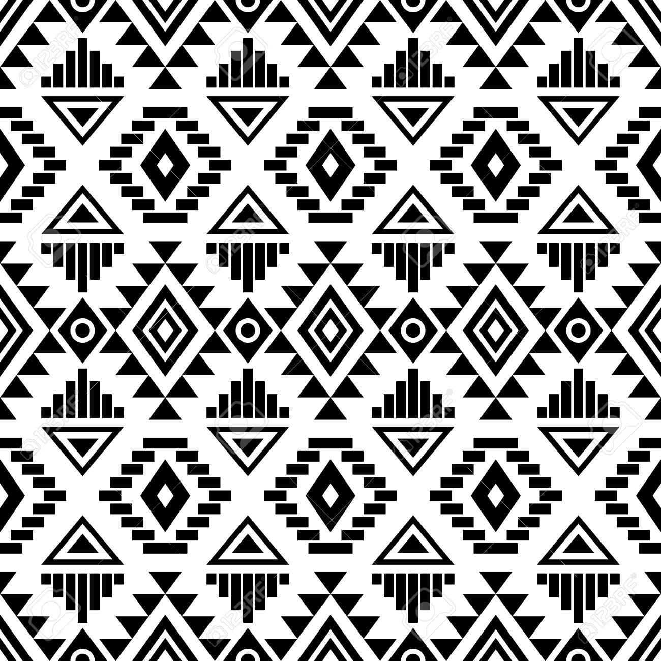 Seamless Noir Et Blanc Avec Des Motifs Azteques Tribaux Boho Chic