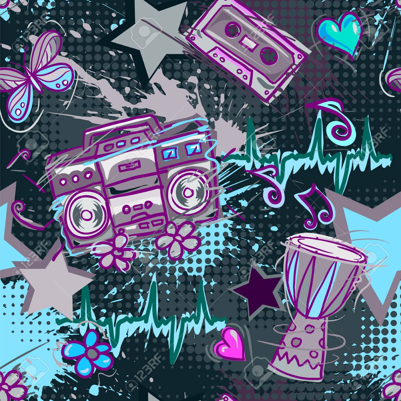 Best Wallpaper Music Bright - 56648816-bright-colored-seamless-pattern-in-hippie-style-abstract-background-with-notes-music-tape-retro-boom  Image_798663.jpg