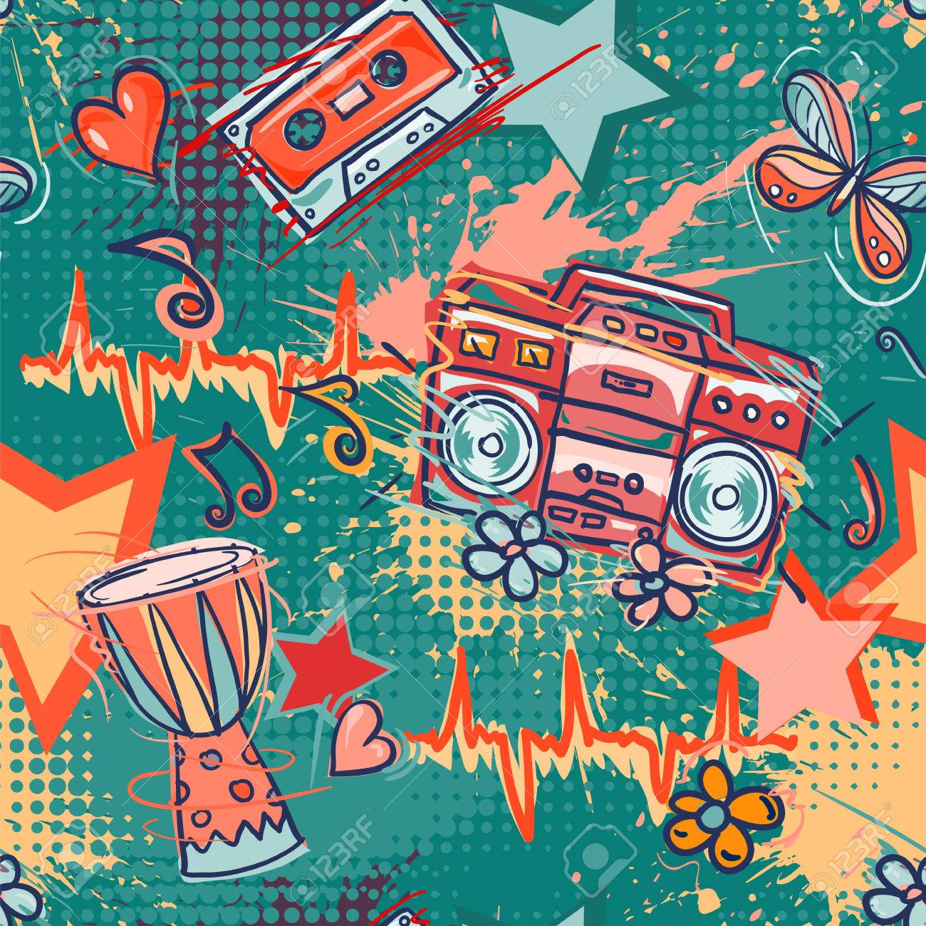 Best Wallpaper Music Tone - 56648956-bright-colored-seamless-pattern-in-hippie-style-abstract-background-with-notes-music-tape-retro-boom  HD_1002025.jpg