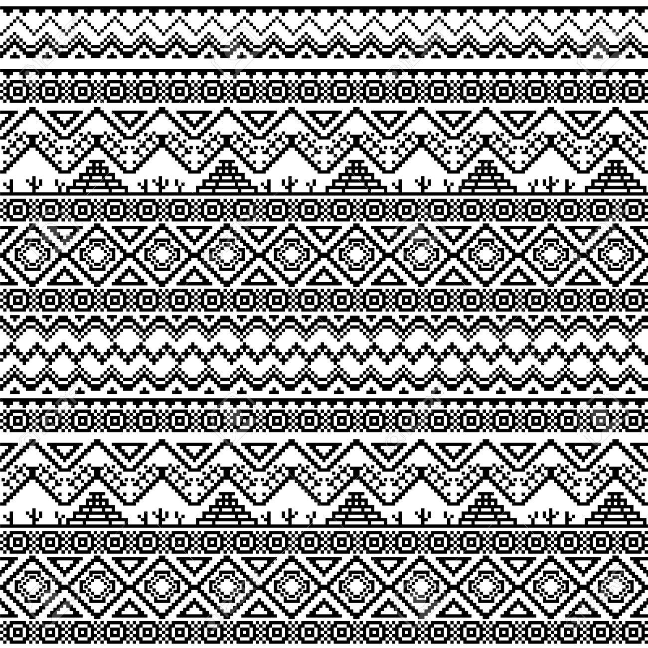 Seamless Boho Pattern Tribal Aztec Stylized Ornament With Cactuses And Chichen Itza Pyramid