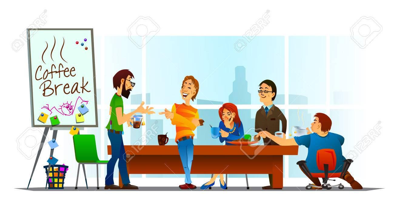 Vektor Illustration Der Kaffeepause Im Buro Freundliches Gesprach Smiling Kollegen Lustige Momente Lizenzfrei Nutzbare Vektorgrafiken Clip Arts Illustrationen Image 60503926