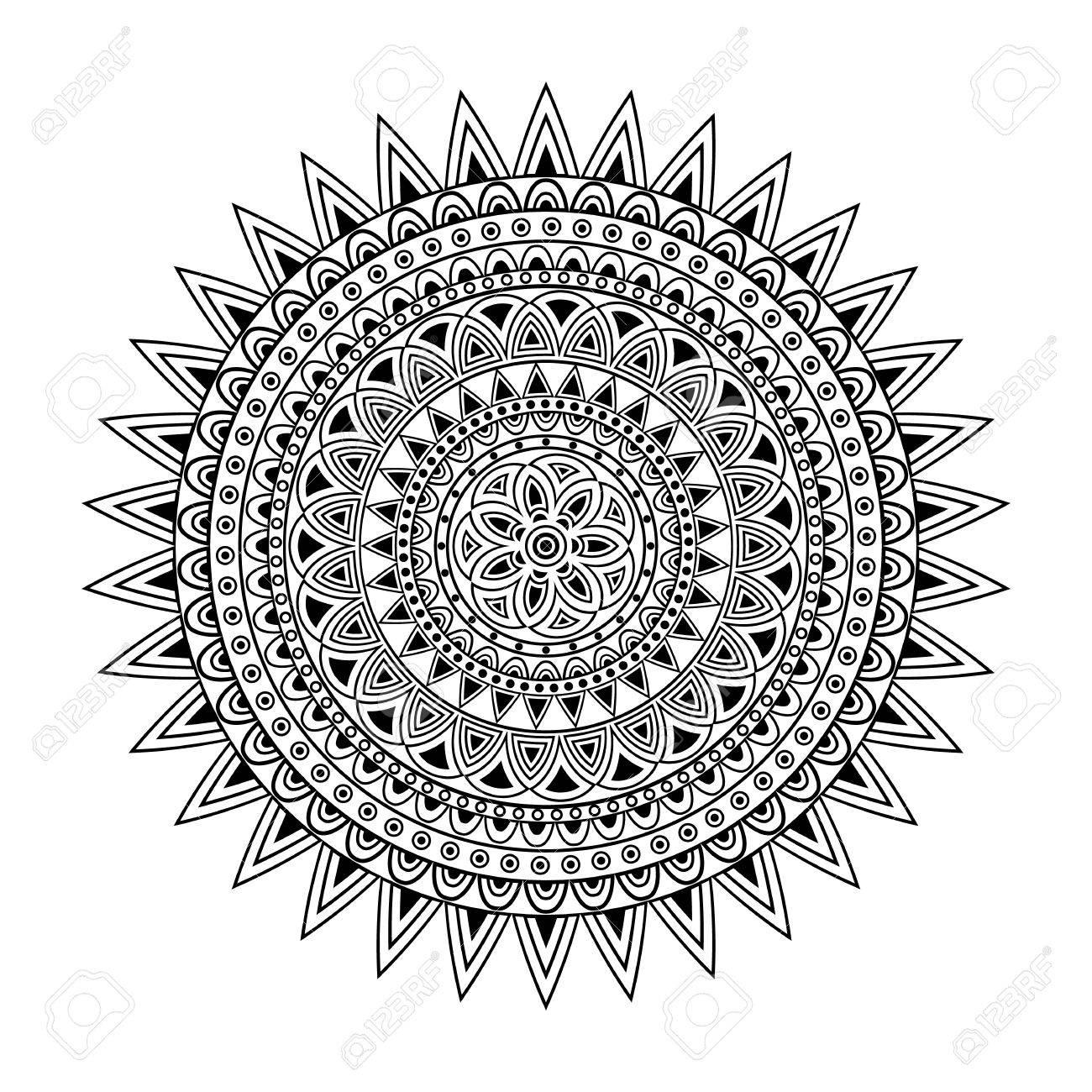 Modele Mandala Impression En Noir Et Blanc Adulte Page De Livre De Coloriage Abstract Pattern Clip Art Libres De Droits Vecteurs Et Illustration Image 60503945