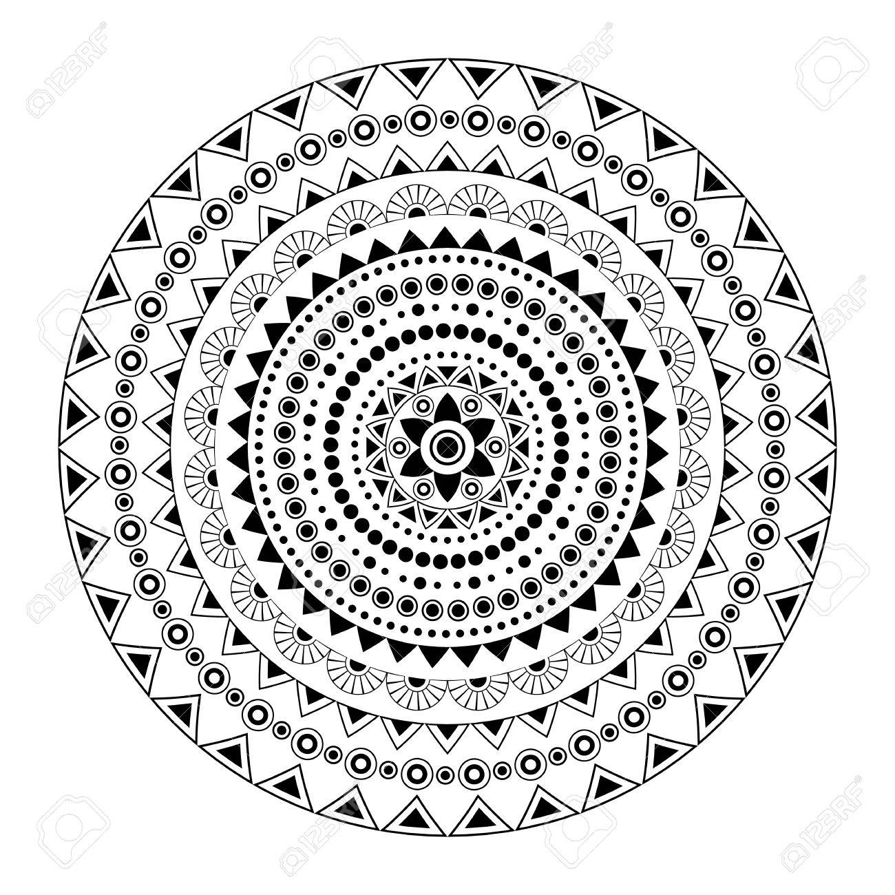 Black And White Mandala Print Template Adult Coloring Book Page Abstract Pattern Stock
