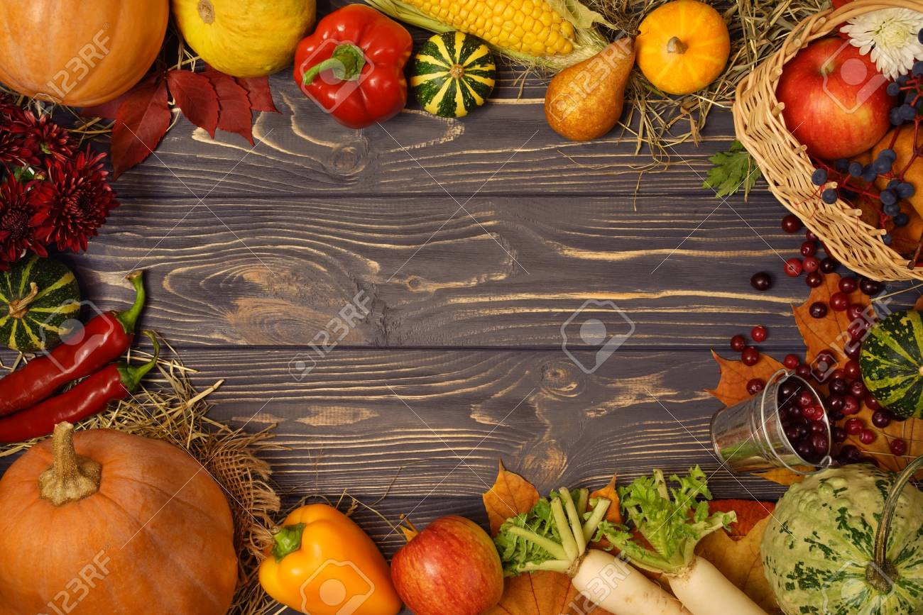 Mock Up Frame Of Various Autumn Fruits And Vegetables On A Vintage Wooden Background Thanksgiving