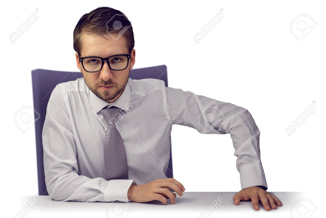 Sullen boss with target stage sitting at his chair at white desk