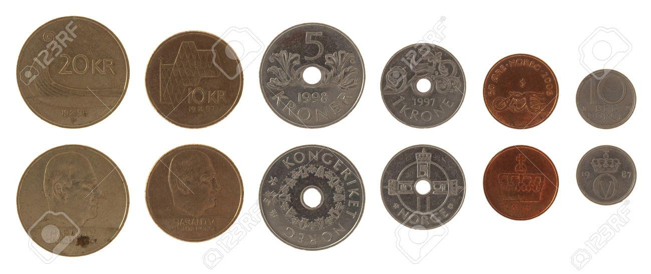 Norwegische Krone Münzen Isoliert Auf Weiß Lizenzfreie Fotos Bilder