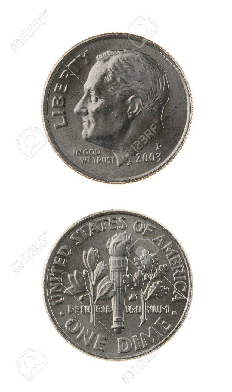 US one dime coin (ten cents) isolated on white  obverse and reverse Stock Photo - 15439116