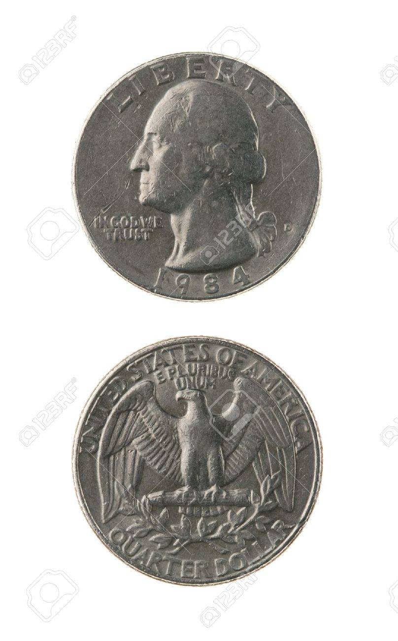US one quarter coin (twenty five cents) isolated on white  obverse and reverse Stock Photo - 15439629