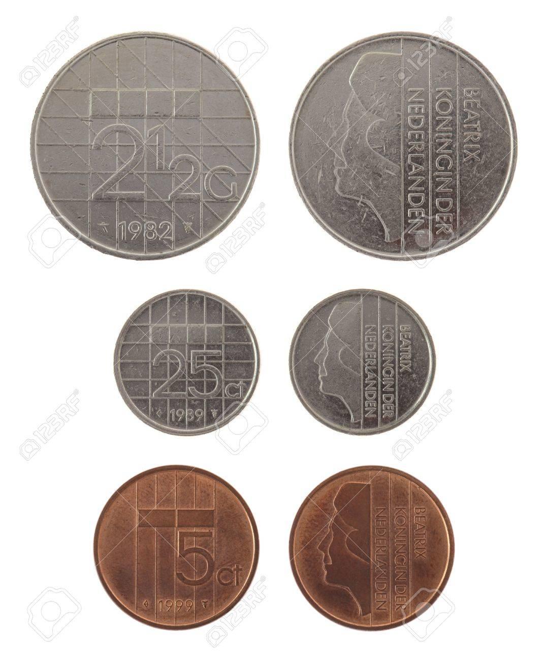 Old Dutch Gulden Münzen Darstellen Königin Beatrix Der Niederlande