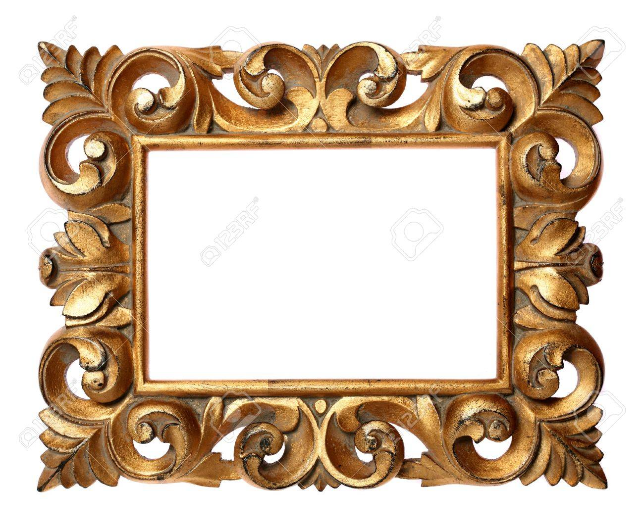 Wooden Baroque Frame Isolated On White Stock Photo, Picture And ...