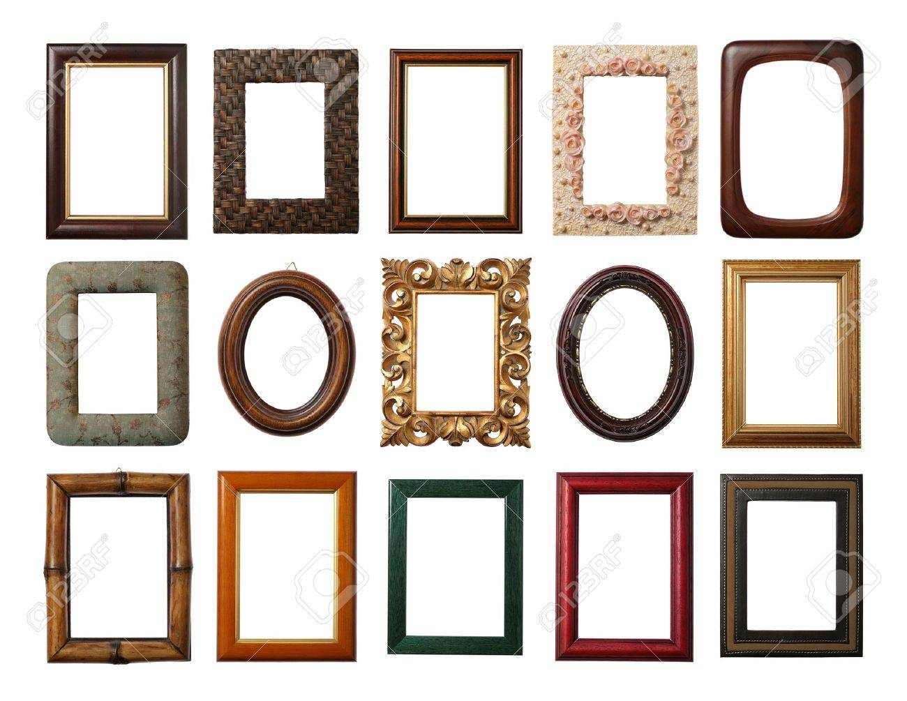 15 Different Frames Isolated On White Stock Photo, Picture And ...