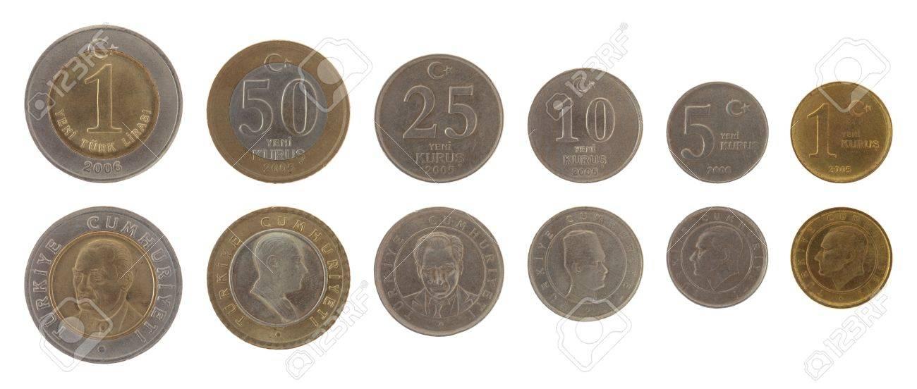 Türkische Lira Münzen Isoliert Auf Weiß Lizenzfreie Fotos Bilder