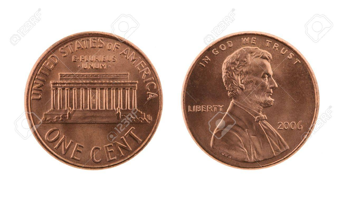 US one US cent coin isolated on white � obverse and reverse Stock Photo - 15459612