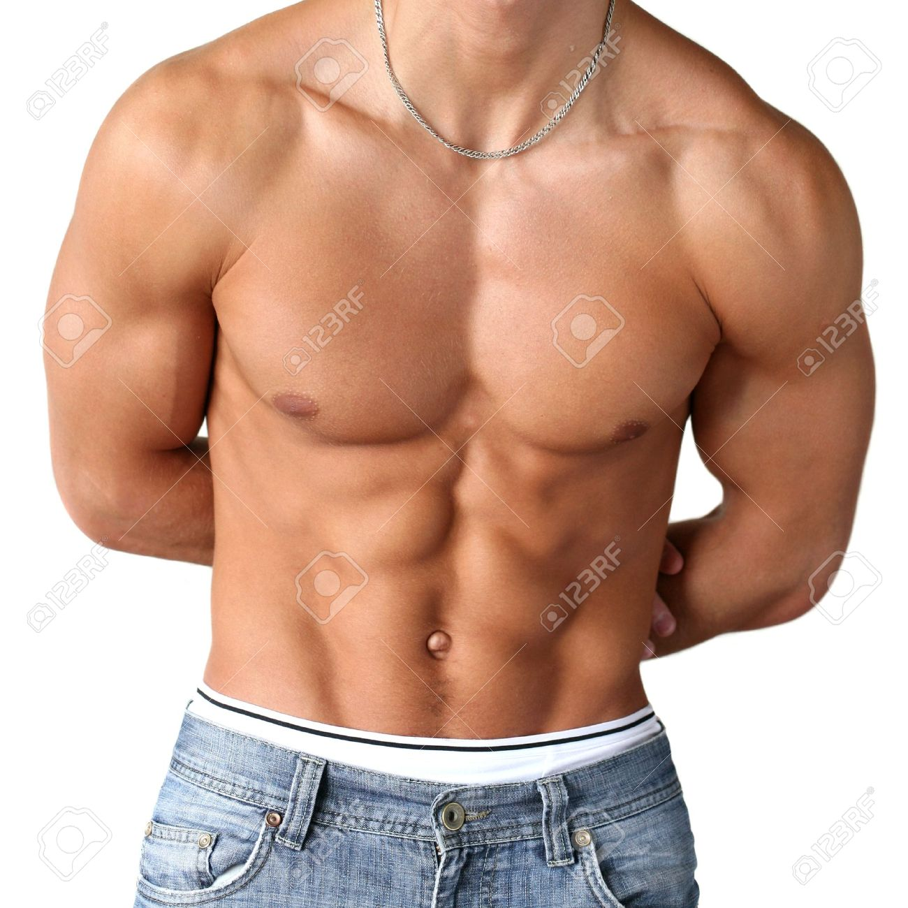 Sexy Muscular Torso Isolated On White Stock Photo Picture And