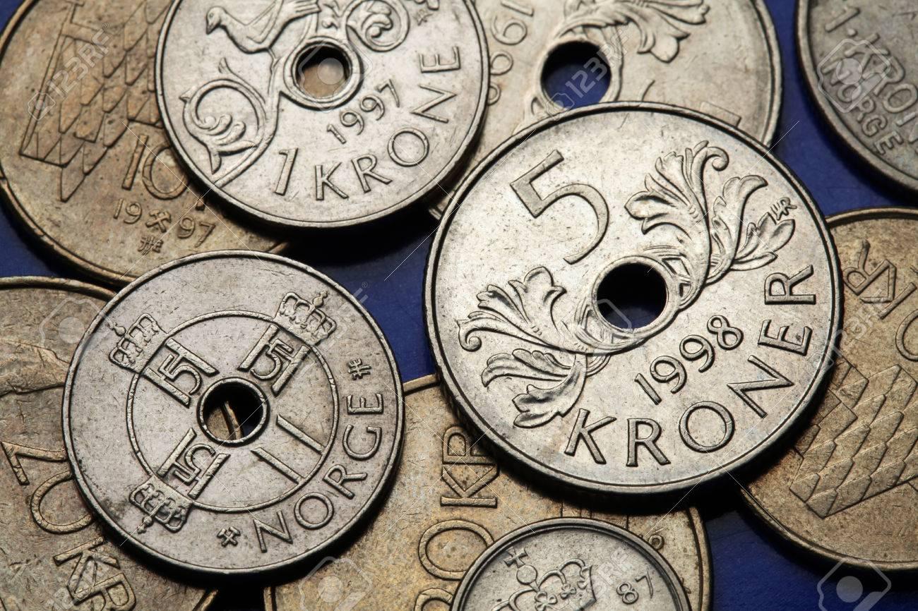 Münzen Von Norwegen Monogramm Von König Harald V Dargestellt In