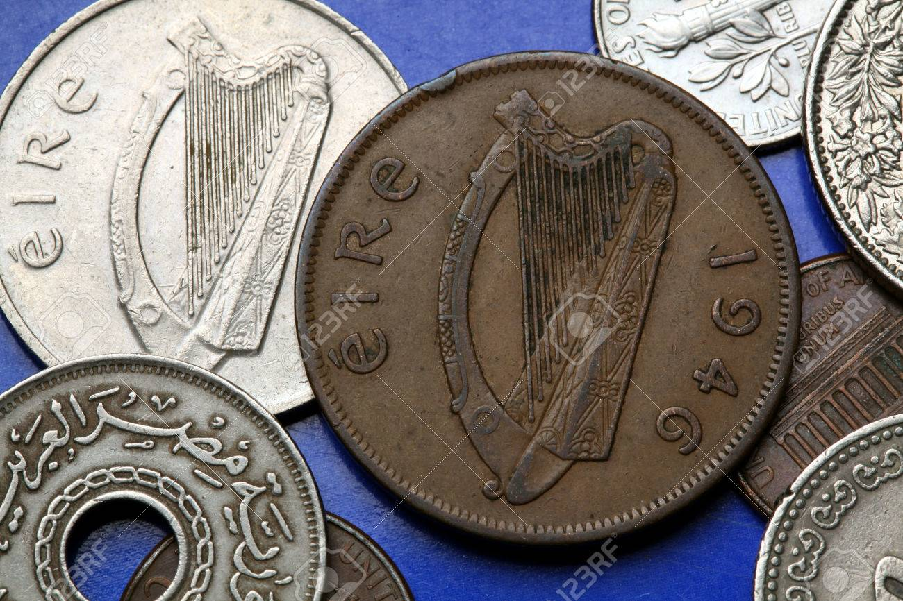 Coins of Ireland  Celtic harp depicted in the old Irish one penny