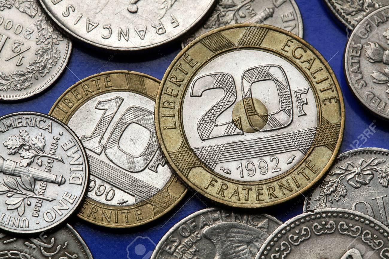 Münzen Von Frankreich Alte 10 Und 20 Französisch Franken Münzen
