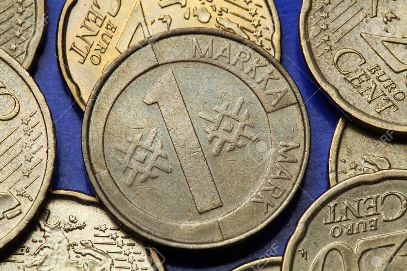 Münzen Von Finnland Alte Finnische Ein Mark Münze Lizenzfreie